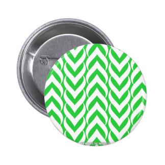Verde del zigzag de Chevron Pin Redondo De 2 Pulgadas