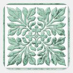 Verde descolorado fresco de la teja inglesa calcomanias cuadradas