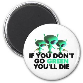 Verde divertido imán redondo 5 cm