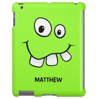 Verde divertido, torpe de la cara del dibujo funda para iPad