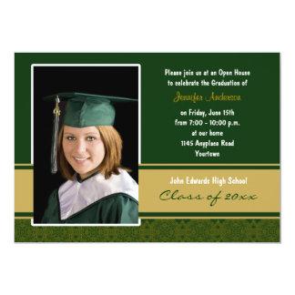 Verde e invitación de la fiesta de graduación del