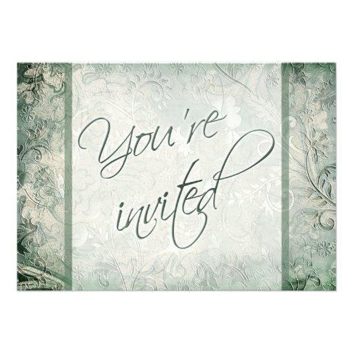 Verde e invitación floral de marfil del boda