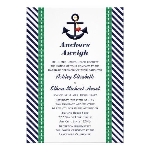 Verde e invitaciones náuticas del boda del ancla d invitación personalizada