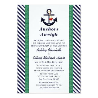 """Verde e invitaciones náuticas del boda del ancla invitación 5"""" x 7"""""""