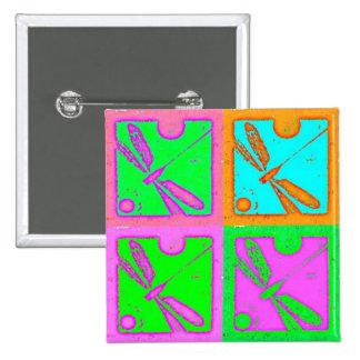 verde e Rosa del libélula Pin Cuadrada 5 Cm