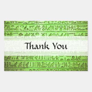 Verde egipcio antiguo de los jeroglíficos pegatina rectangular