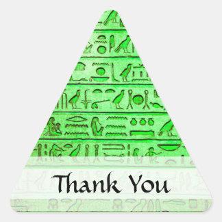 Verde egipcio antiguo de los jeroglíficos pegatina triangular