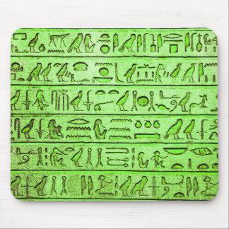 Verde egipcio antiguo de los jeroglíficos tapetes de raton