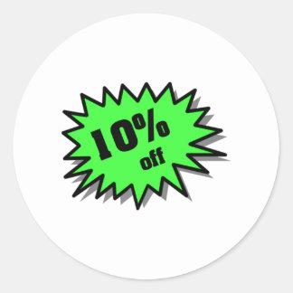 Verde el 10 por ciento apagado pegatina redonda