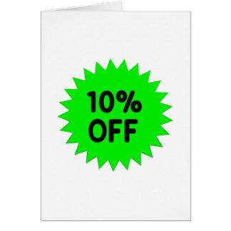 Verde el 10 por ciento apagado tarjeta de felicitación