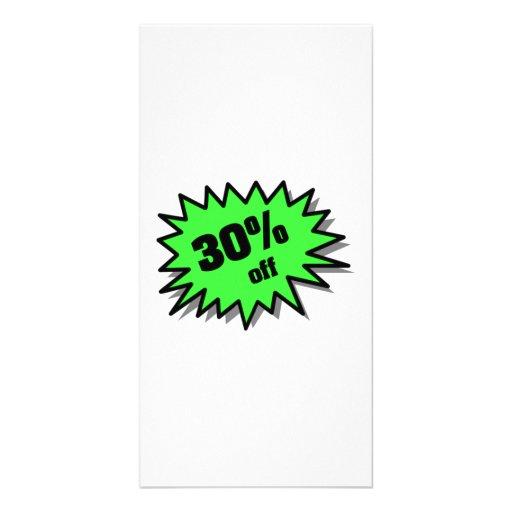 Verde el 30 por ciento apagado tarjetas fotográficas personalizadas