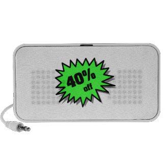 Verde el 40 por ciento apagado laptop altavoces