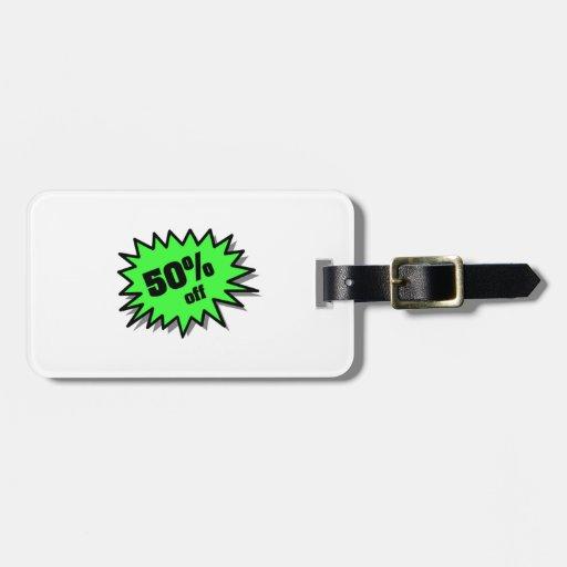 Verde el 50 por ciento apagado etiqueta para equipaje