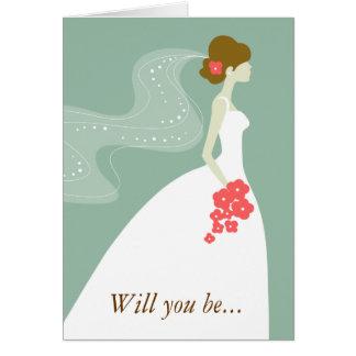 ¿Verde, el rosa blanco usted será mi dama de honor Tarjeta Pequeña
