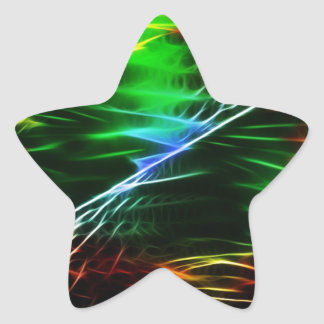 Verde eléctrico fresco pegatina en forma de estrella