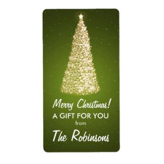 Verde elegante de la etiqueta del regalo del árbol etiqueta de envío