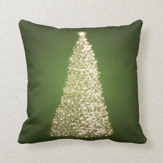 Verde elegante del árbol de navidad del oro almohadas
