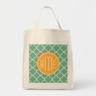 Verde elegante Quatrefoil del trullo con el monogr Bolsa De Mano