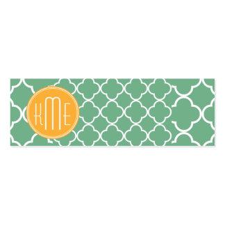 Verde elegante Quatrefoil del trullo con el monogr Tarjetas De Negocios