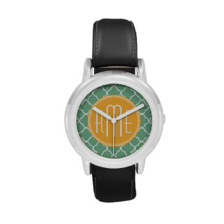Verde elegante Quatrefoil del trullo con el Relojes