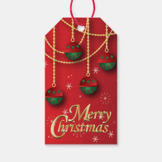 Verde elegante, rojo y navidad del oro etiquetas para regalos