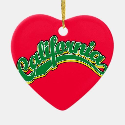 Verde en amarillo adorno de cerámica en forma de corazón