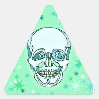 Verde en colores pastel y trullos cráneo y calcomanía trianguladas personalizadas