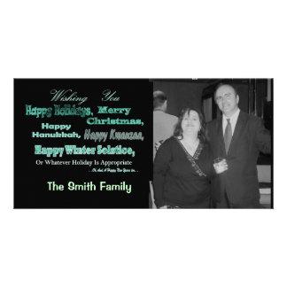 Verde en días de fiesta multi negros tarjeta fotográfica personalizada