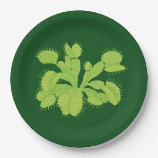 Verde en el atrapamoscas de Venus verde Plato De Papel De 9 Pulgadas