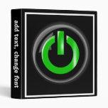 """""""Verde en"""" el botón de encendido negro"""