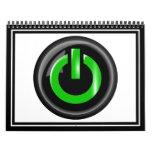 """""""Verde en"""" el botón de encendido negro Calendario"""