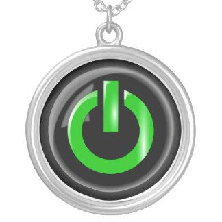"""""""Verde en"""" el botón de encendido negro Colgante Redondo"""
