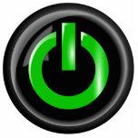 Verde en el botón de encendido - negro esculturas fotográficas