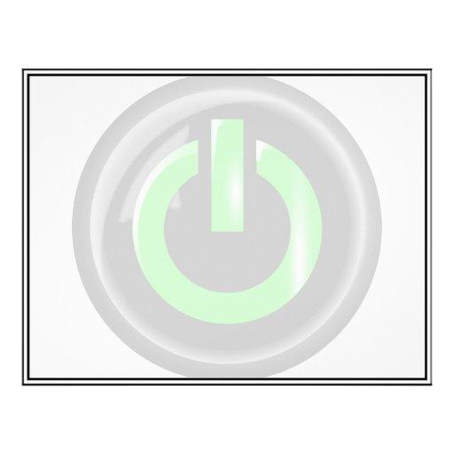 """""""Verde en"""" el botón de encendido negro Tarjeta Publicitaria"""