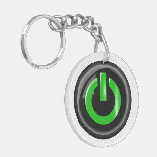 """""""Verde en"""" el botón de encendido negro Llavero Redondo Acrílico A Doble Cara"""