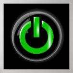 Verde en el botón de encendido - negro poster