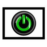 Verde en el botón de encendido - negro tarjeta postal