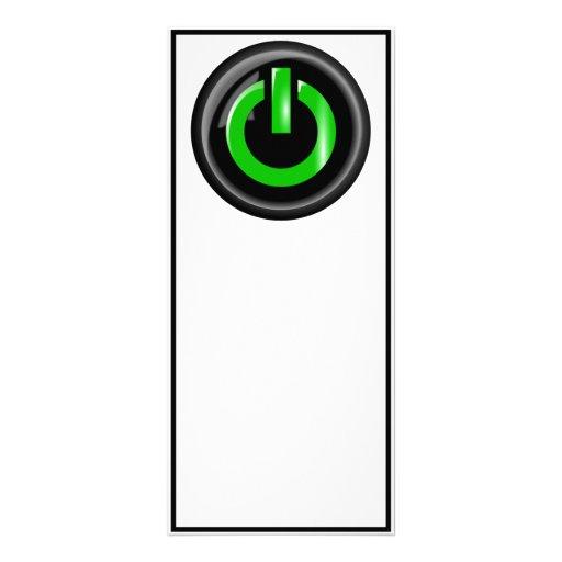 """""""Verde en"""" el botón de encendido negro Tarjeta Publicitaria Personalizada"""