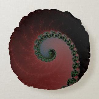 Verde en el rojo y Brown - remolinos del espiral Cojín Redondo