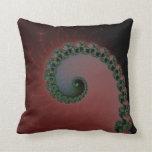 Verde en el rojo y Brown - remolinos del espiral d Cojin