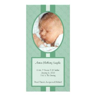 Verde en nueva tarjeta de la foto del bebé del tarjetas personales