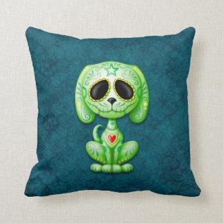 Verde en perrito azul del azúcar del zombi almohada