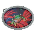 Verde en rojo hebilla cinturon oval
