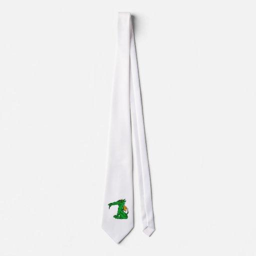 Verde enojado del dragón corbatas personalizadas