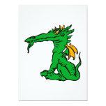 Verde enojado del dragón invitación 12,7 x 17,8 cm