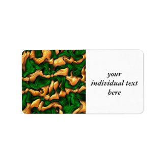 verde enredado de la seda etiqueta de dirección