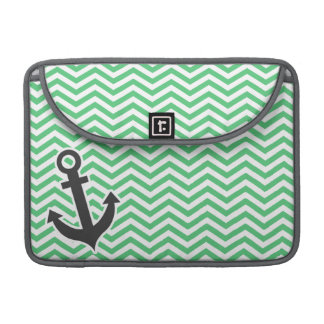 Verde esmeralda Chevron; Ancla Funda Macbook Pro