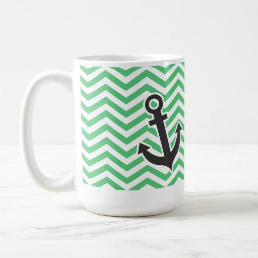 Verde esmeralda Chevron; Ancla Tazas De Café