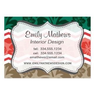 Verde esmeralda, coral, rojo, y moreno tropical tarjeta de visita