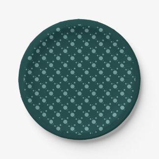 Verde esmeralda de los puntos juguetones platos de papel